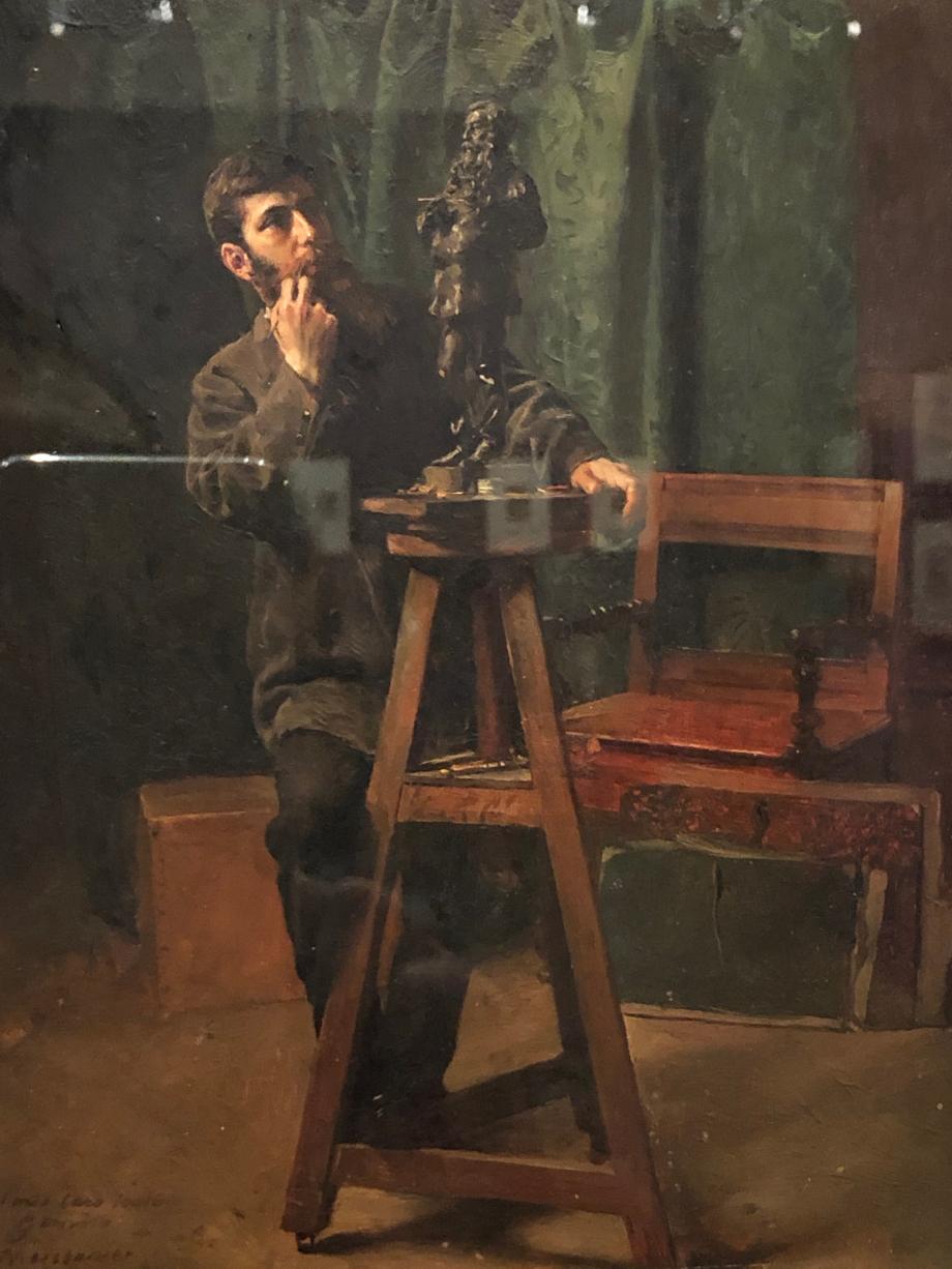 Antonio Augusto Moriani d'après Ernest Meissonier  Gemito modelant la statuette d'Ernest Meissonier, 1879