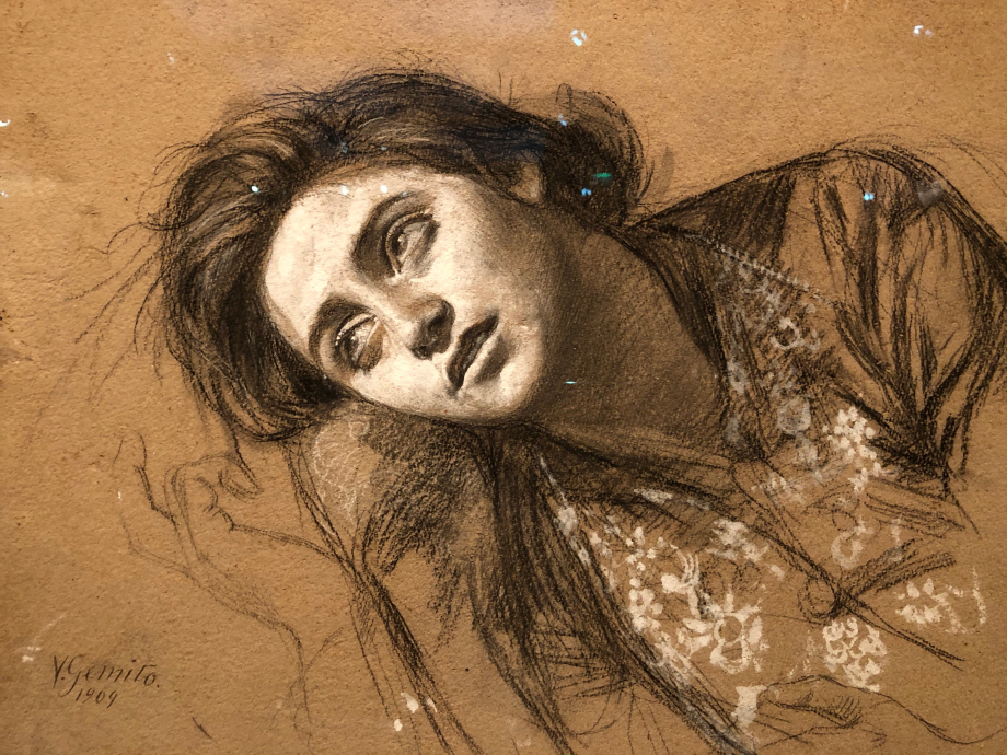 Portrait d'Anna Gemito 1886  Magnifique dessin