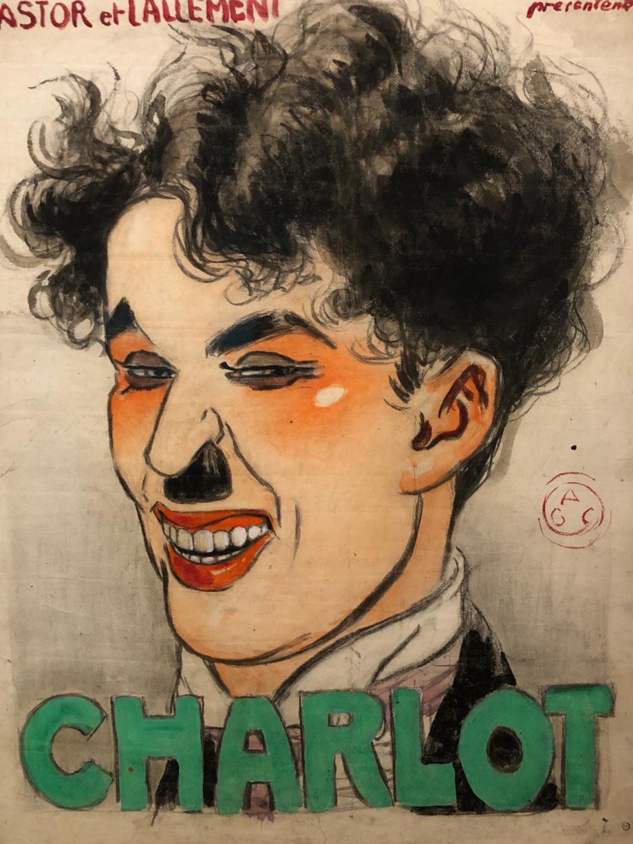 Maquette d'affiche vers 1917 C'est à la société de distribution française Himalaya Films que Chaplin doit son surnom de