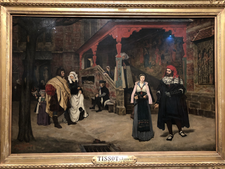 Rencontre de Faust et de Marguerite 1860 Paris, Musée d'Orsay  Au Salon de 1861, Tissot expose un ensemble d'oeuvres sur le thème du Faust de Goethe, drame remis à la mode par l'opéra de Gounod (destin du vieux savant Faust et de la jeune et innocente Marguerite pris au piège par le diable, Méphistophélès) Ce tableau est le seul acquis par l'Etat du vivant de Tissot