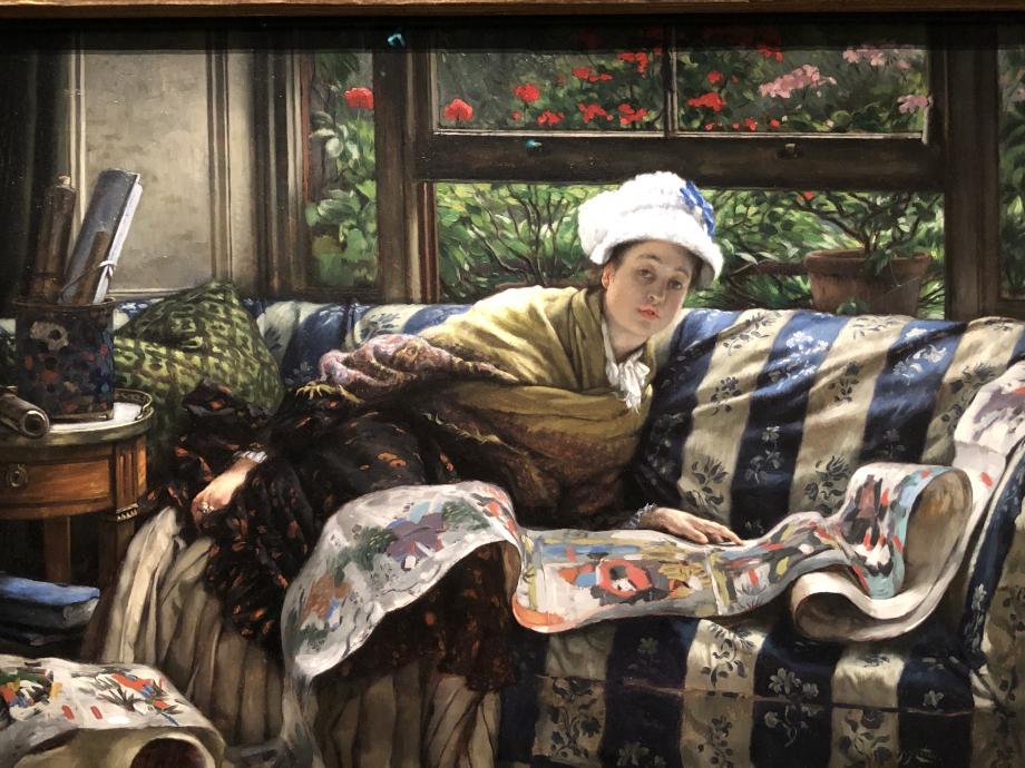 Le rouleau japonais 1873 Ottawa, National Gallery of Canada  Mon tableau préféré de cette exposition, le rendu du canapé et du rouleau est magnifique