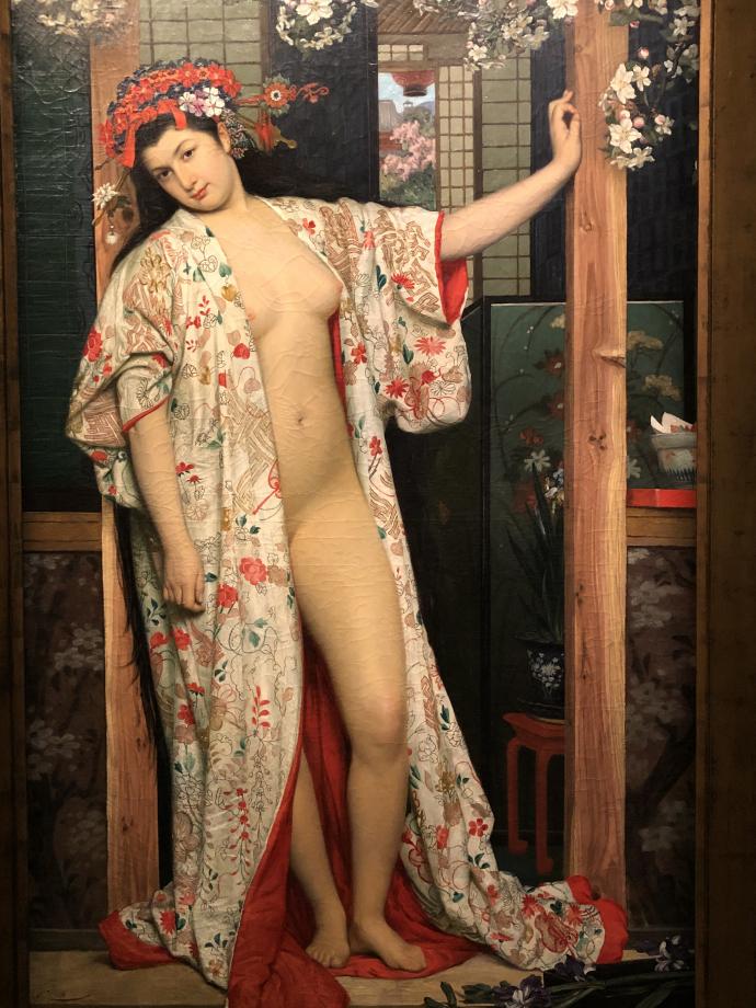 Japonaise au bain 1864 Dijon, Musée des Beaux-Arts  Ce tableau traduit la vision fantasmée du Japon qu'un peintre peut avoir à Paris au début des années 1860 La femme, qui n'est pas du tout japonaise, est parée d'un grand kimono. Ce tableau est l'un des rares