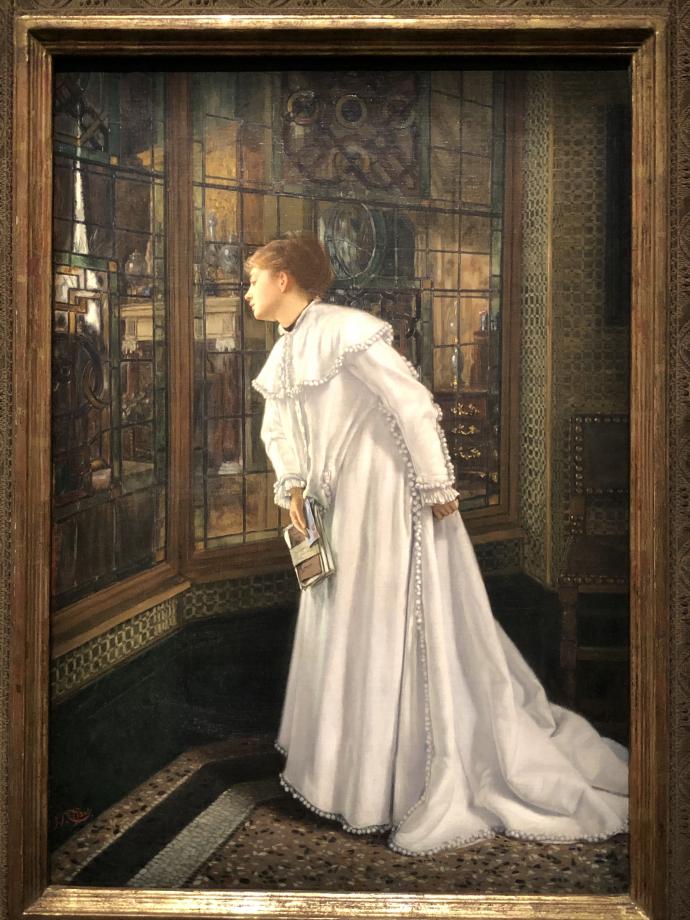 Jeune femme en blanc dans le vestibule de ma maison de Paris dit aussi l'Escalier 1869 Collection Pérez Simòn