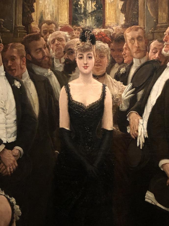 ce tableau dépeint le monde des affaires et de la finance. Une jeune femme largement décolletée entre dans un salon alors qu'une nuée d'hommes l'observe.
