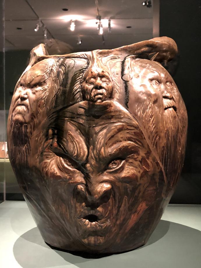 Jean Carriès Grand vase avec têtes barbues 1888-1894