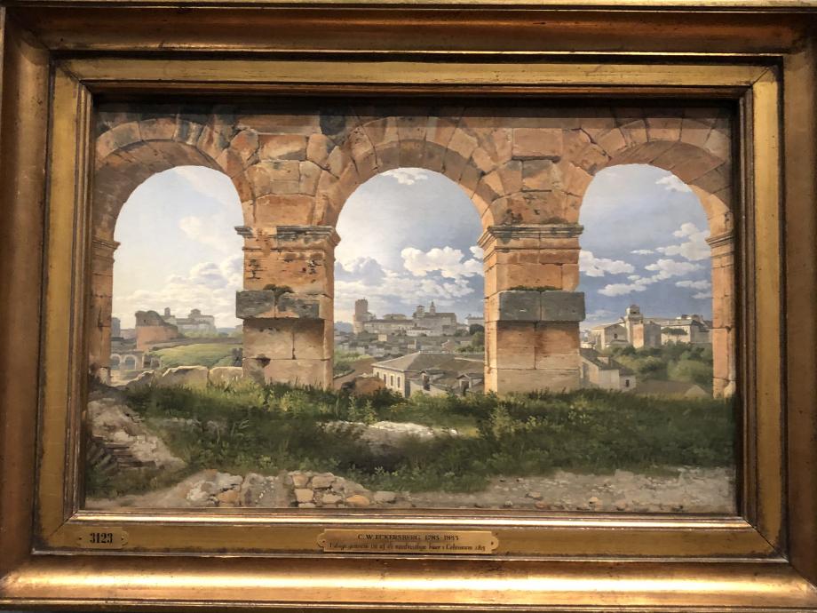 Christoffer Wilhelm Eckersberg Vue à travers trois arches du 3ème étage du Colisée 1815