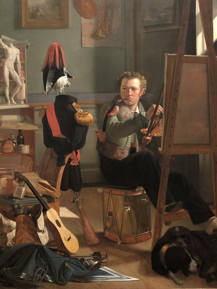 Ditlev Blunck Un peintre de bataille (Jørgen Sonne) dans son atelier vers 1826