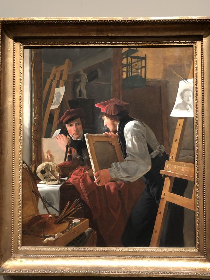 Wilhelm Bendz Un jeune artiste (Ditlev Blunck) regardant son esquisse dans un miroir 1826