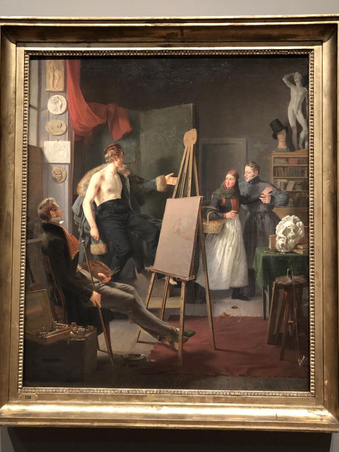 Albert Küchler Une paysanne d'Amager vendant des fruits dans un atelier d'artiste 1828