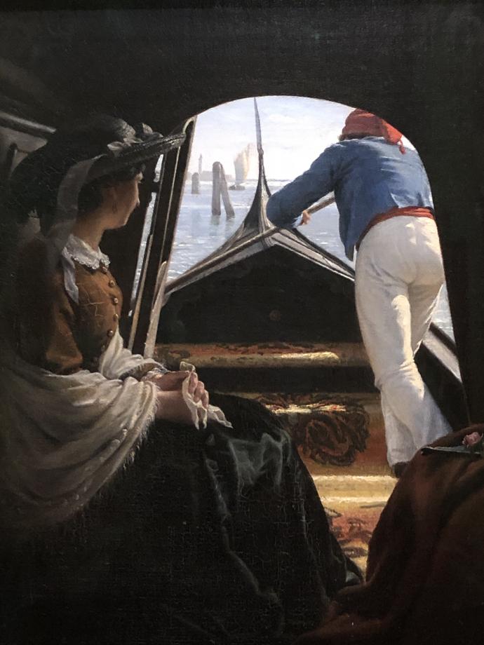Avec un point de vue de l'intérieur de la gondole, le peintre met le spectateur dans la peau d'un touriste