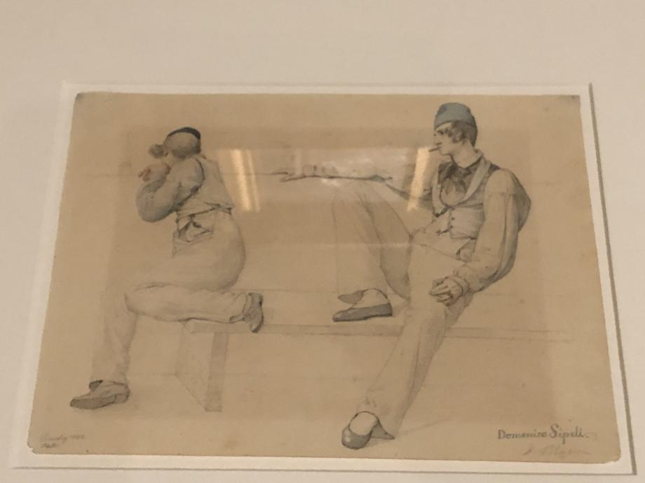 Ditlev Blunck Deux italiens sur un banc, Venise 1832  Lors de son séjour à Venise, Blunck peint un gondolier assis sur un banc mais le dessin préparatoire propose une scène différente avec un autre personnage. Cette mise en scène suggère une entrevue amoureuse, ce qui disparait complètement de la peinture