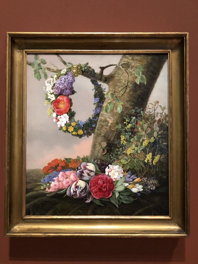 Christine Løvmand Bouquet de fleurs au pied d'un arbre 1832