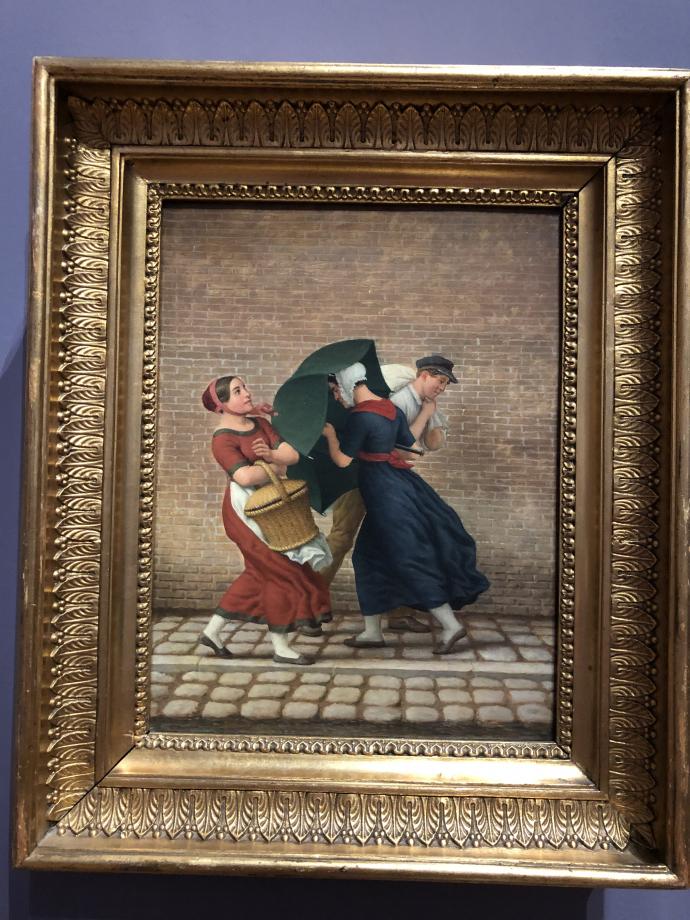 Christoffer Wilhelm Eckersberg Scène de rue sous la pluie et le vent 1846