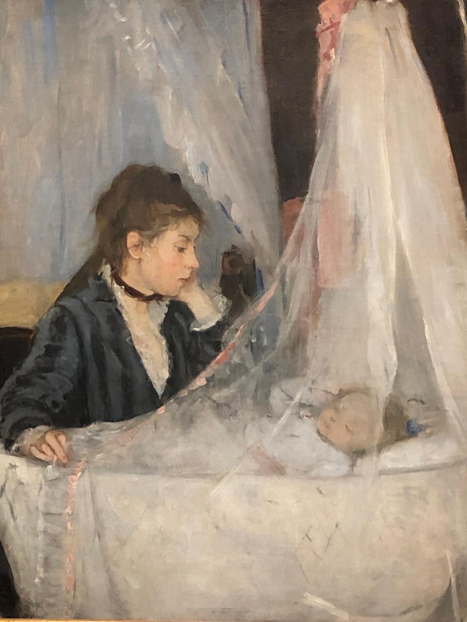 Le Berceau - 1872  Berthe était proche de sa soeur, Edma, qui est représentée ici avec sa fille Blanche C'est un des tableaux les plus célèbres de Berthe Morisot