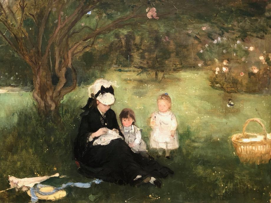 Femme et enfants sur le gazon dit aussi Les Lilas à Maurecourt - 1874 Collection particulière