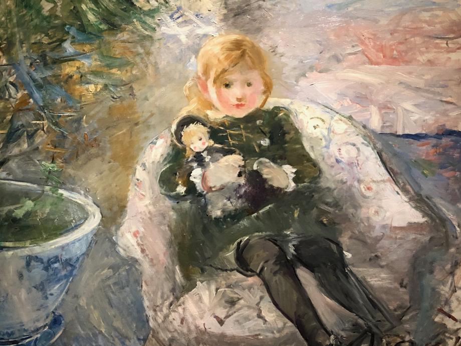 Enfant au fauteuil dit aussi Jeune fille à la poupée - 1884 Collection particulière  Il s'agit de Julie, la fille de Berthe