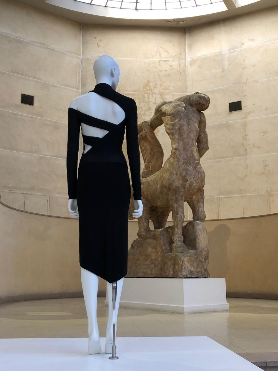 Martine Sitbon Robe prêt-à-porter automne-hiver 1997-1998 Jersey de laine, luxe et viscose Archives Martine Sitbon