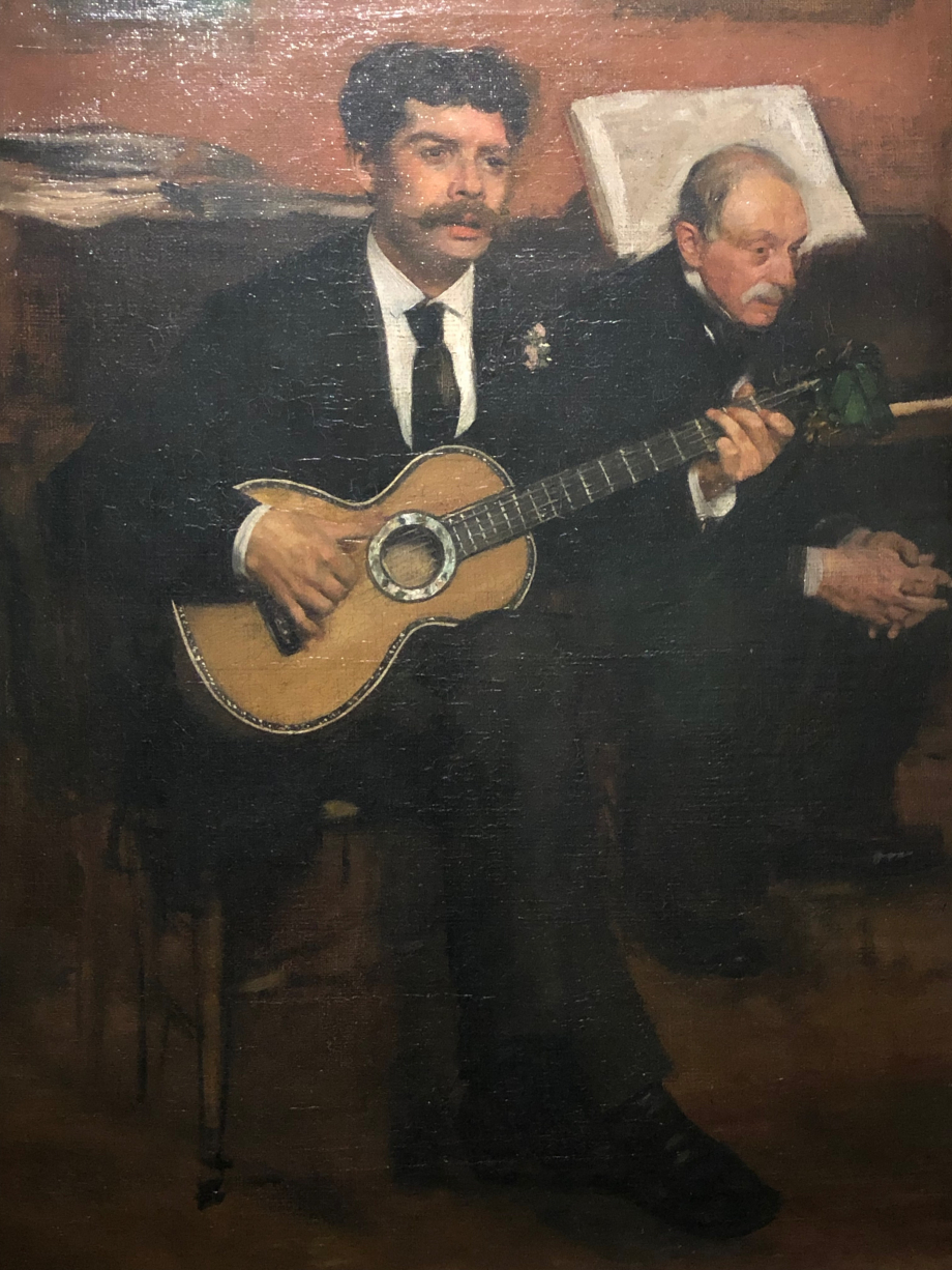 Lorenzo Pagans et Auguste De Gas (le père d'Edgar) Vers 1871 1872 Paris, Musée d'Orsay Auguste De Gas, héritier de la banque familiale, était un fervent amateur de musique et tenait salon dont ce tableau en est l'illustration. Le guitariste est Lorenzo Pagans, un ténor espagnol.