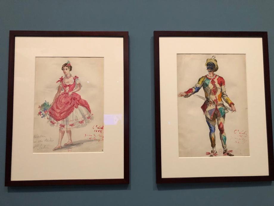 Ludovic Lepic Les jumeaux de Bergame Ballet-arlequinade de Théodor de Lajarte Maquettes de costume : la bouquetière, Mle Subra (Coraline) et Arlequin 1886 BNF Paris
