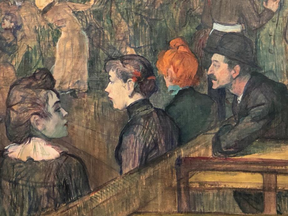 détail du tableau  Renoir fit aussi un tableau du Bal du Moulin de la Galette, l'ambiance est bien différente