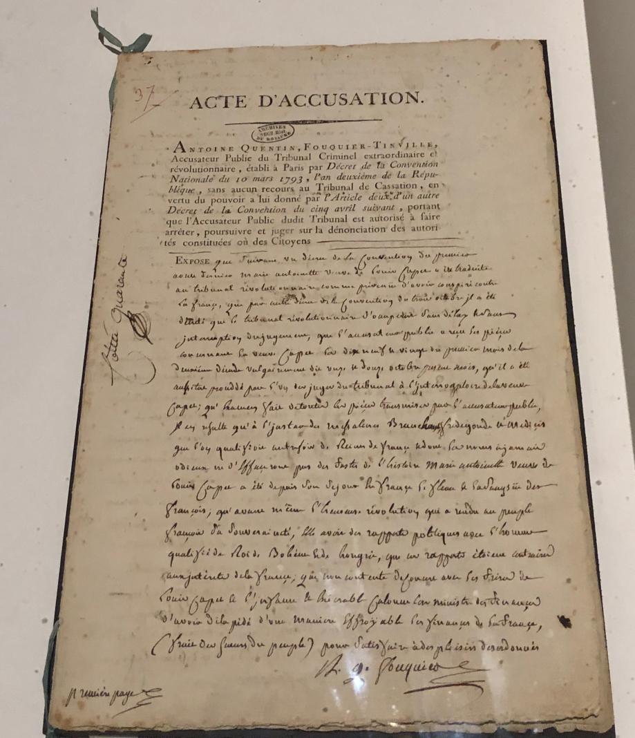 Acte d'accusation du procès de Marie-Antoinette devant le Tribunal révolutionnaire 12 octobre 1793