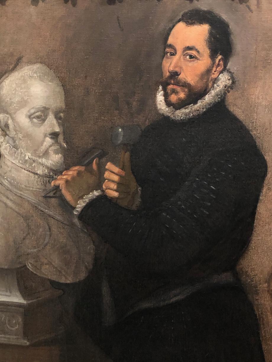Portrait d'un sculpteur vers 1577 1580 Collection particulière  Ce portrait est peut-être celui de Pompeo Leoni, sculpteur milanais au service du Roi Philippe II dont on reconnait les traits dans le buste peint.  Le sculpteur appréciait Greco dont il possédait plusieurs oeuvres.