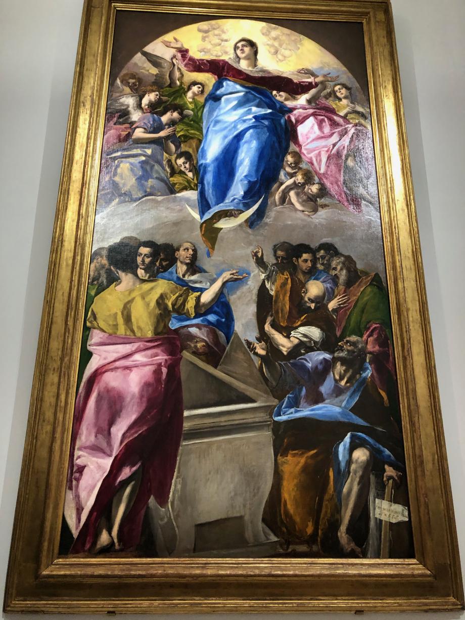L'Assomption de la Vierge 1577 1579 Chicago, the Art Institute  La gigantesque toile de l'Assomption formait la partie principale du maître-autel de l'église de Santo Domingo el Antiguo, l'une des premières réalisations de Greco à son arrivée à Tolède. La commande incluait également des éléments sculptés ainsi que deux tableaux pour les autels latéraux dans le transept, l'un demeuré in situ, l'autre présent dans cette exposition.