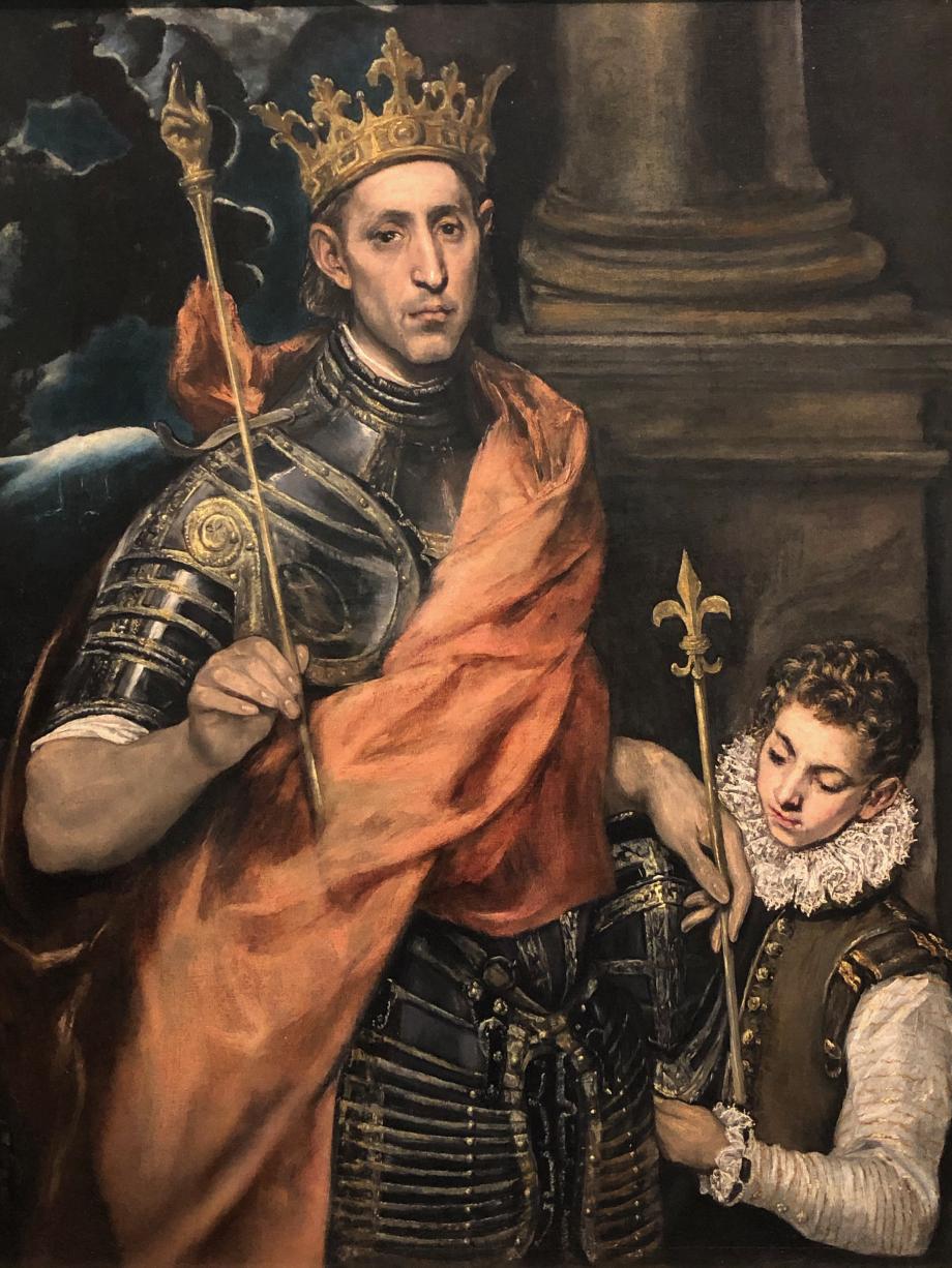 Saint Louis et son page 1585 1590 Paris, Musée du Louvre, département des peintures  Autrefois considéré comme un portrait de Saint Ferdinand, il est désormais acquis que le tableau représente Saint Louis, Roi de France, fils de Blanche de Castille, Saint Louis est une figure populaire en Espagne.
