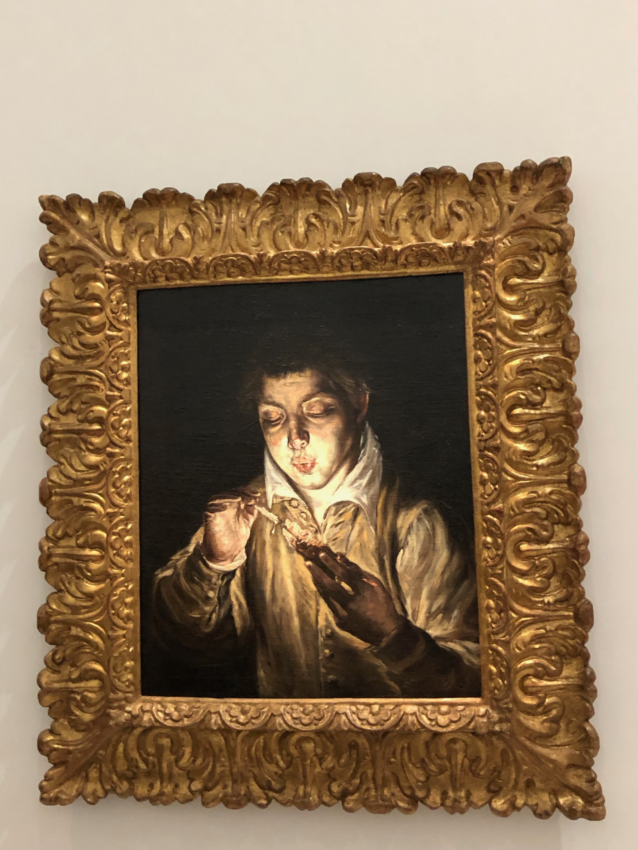 Jeune garçon soufflant sur une braise (El Soplon) vers 1569 1570 Madrid, collection Colomer  Sans doute peinte alors que l'artiste est encore à Venise, cette composition est la première d'une suite de variations qui s'échelonneront tout au long de la carrière de Greco. Elle témoigne en outre de l'intérêt du peintre pour l'observation directe des phénomènes naturels et pour le clair-obscur.