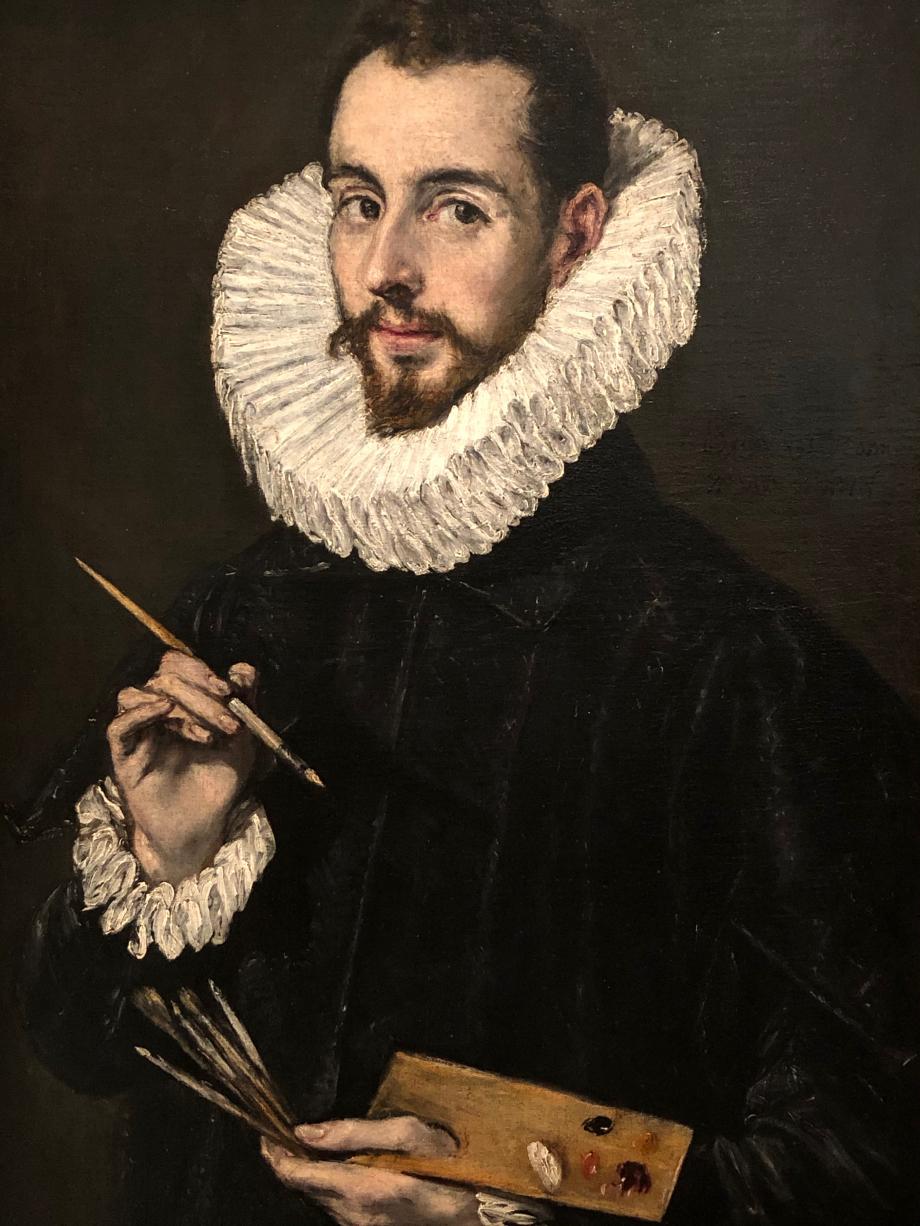 Portrait de Jorge Manuel Theotokopouli, fils de l'artiste 1603 Séville, Museo de Bellas Artes de Sevilla  Greco exécute ce portrait de son fils au moment où celui-ci est de plus en plus associé dans ses contrats. Malgré ce magnifique portrait, il n'est pas établi avec certitude que Jorge Manuel ait voulu être peintre.