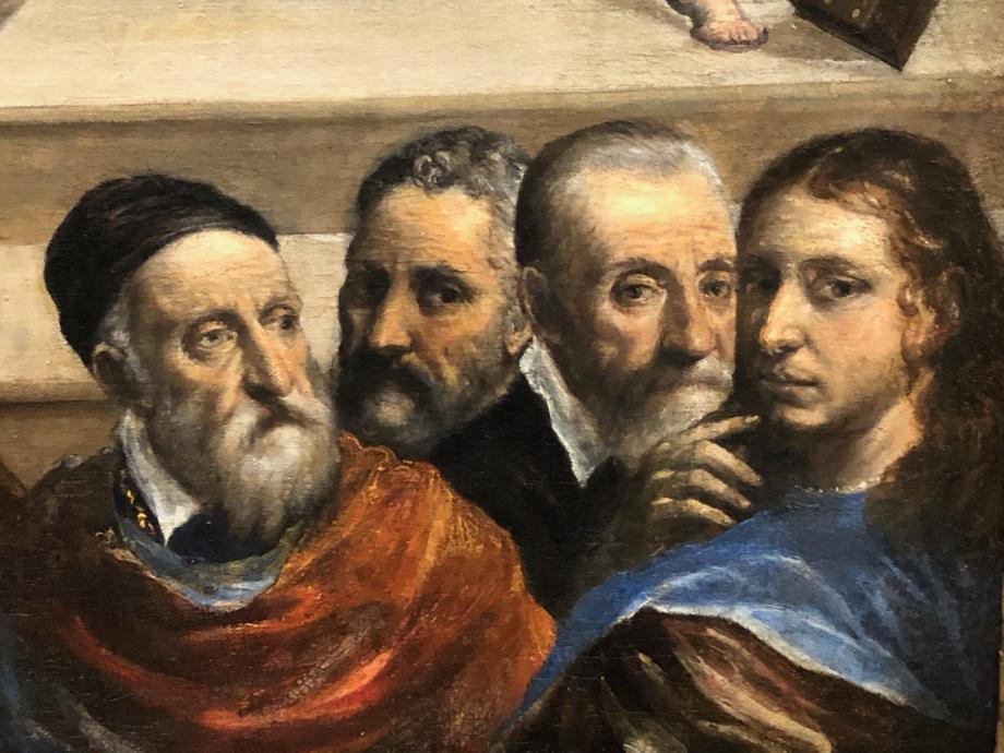 détail du tableau  Greco y insère le portrait de ses principaux modèles auxquels fièrement il entend se mesurer : Titien, Giulio Clovio, Michel-Ange et Raphaël
