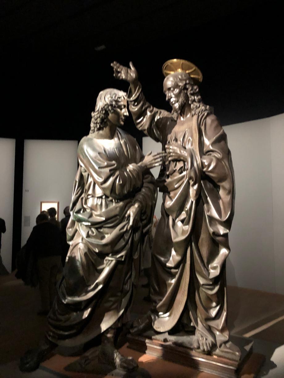 Léonard de Vinci fut à Florence l'élève d'un des plus grands sculpteurs du XVè siècle : Andrea Del Verrochio  Andrea Del Verrochio Le Christ et Saint Thomas ou l'incrédulité de Saint Thomas 1467 1483 Florence, Chiesa e Museo di Orsanmichele