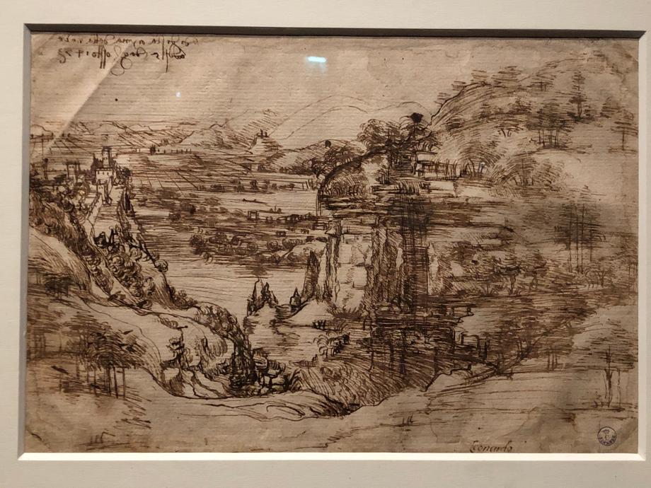 Léonard de Vinci Paysage de la vallée de l'Arno  Florence, Gabinetto Disegni e Stampe defli Uffizi  C'est le plus ancien dessin daté de Léonard. Il porte l'inscription en haut