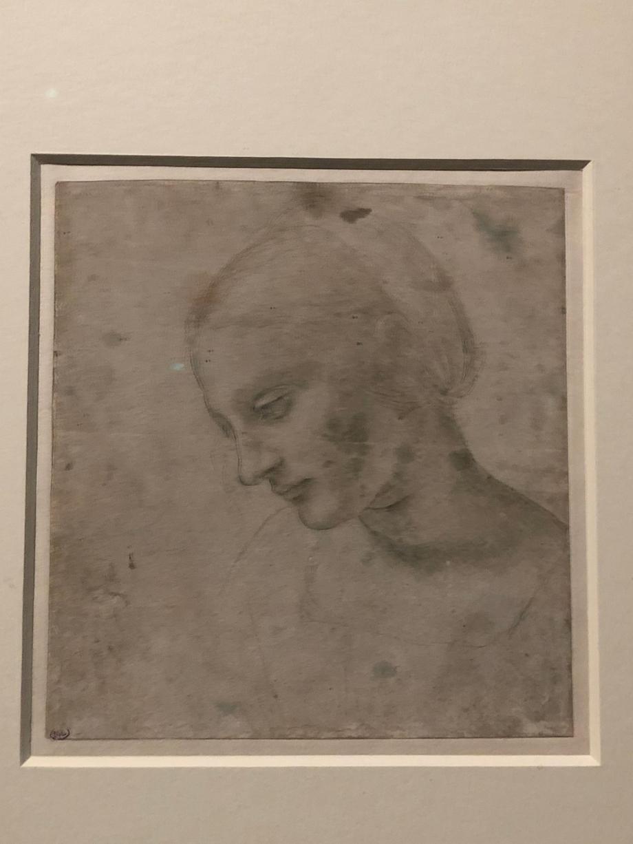 Léonard de Vinci Tête de femme vers 1485 1490 Paris, Musée du Louvre  Léonard démontre ici sa maîtrise et sa liberté dans l'usage de la pointe d'argent, technique virtuose ne permettant pas les corrections.