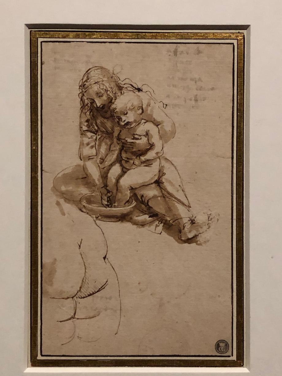 Léonard de Vinci Etude pour une Vierge à l'Enfant lavant les pieds de Jésus, et fesses d'un enfant vers 1478 1480 Porto, Faculdade de Bellas Artes