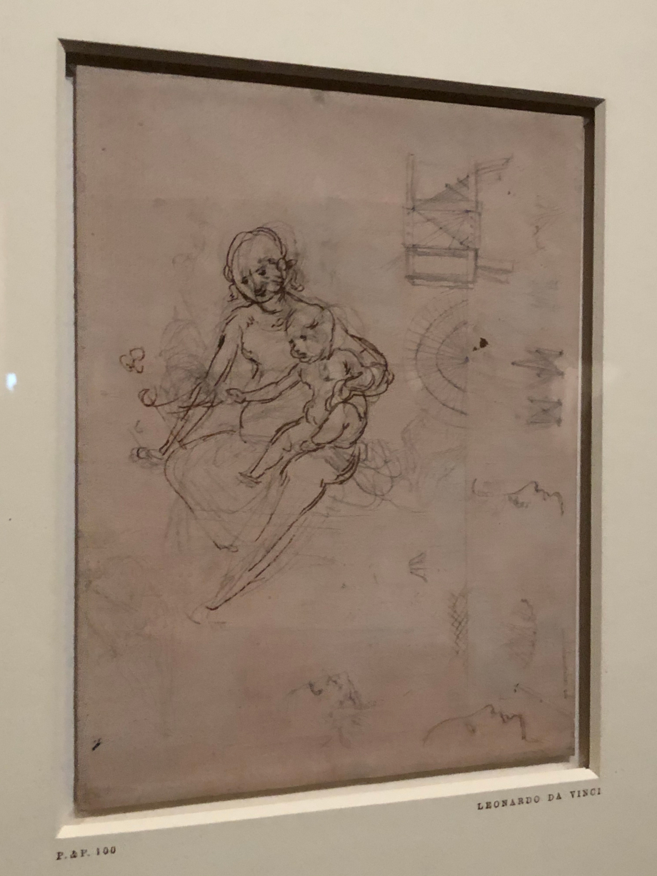 Léonard de Vinci Etudes pour une Vierge à l'Enfant Profils et dessins géométriques vers 1478 1480 Londres, The British Museum