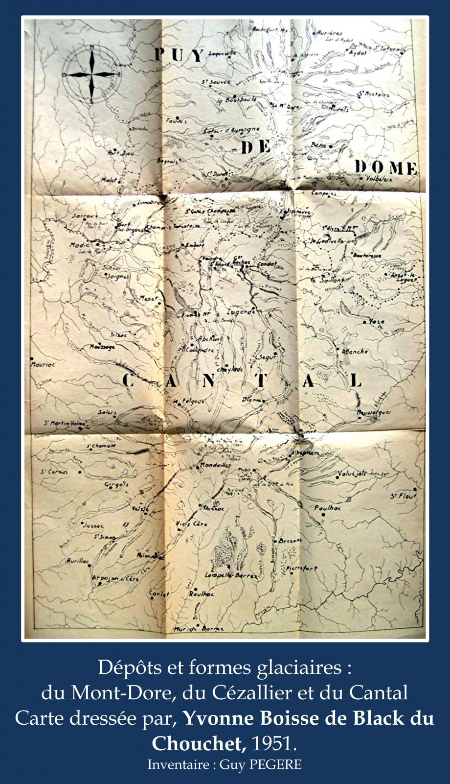 Carte dressée par Yvonne Boisse de Black du Chouchet 1951 sur les dépôts glaciaires  inventaire Guy PEGERE.jpg