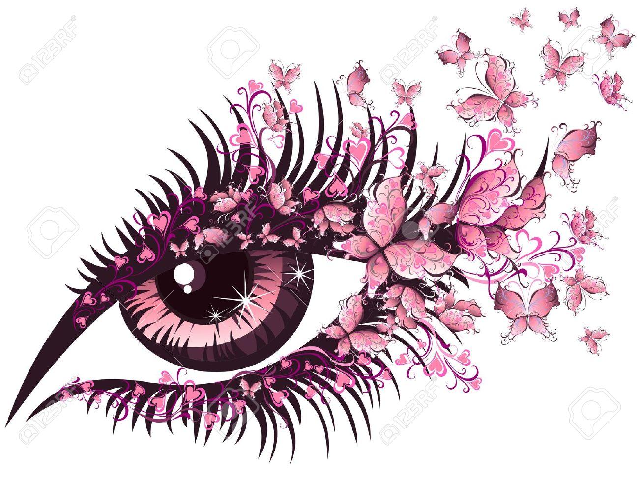 16389284-Belle-femme-avec-des-yeux-papillons-Banque-d'images.jpg