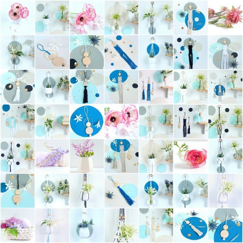 mosaïque de produits de la boutique bijoux de mur suspension en macrame et cartes postales Un-oiseau-dans-sa-bulle.com