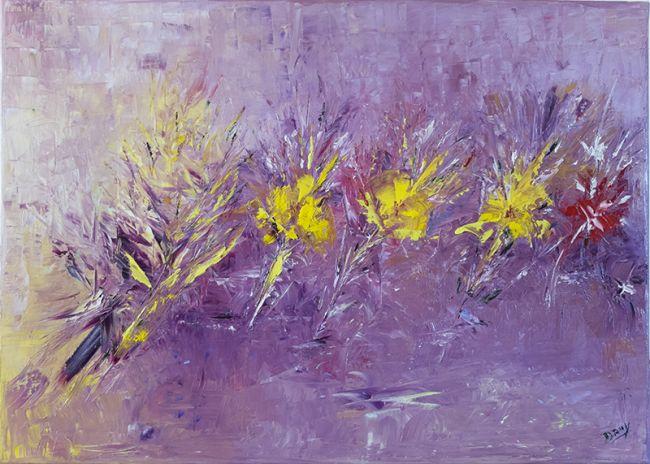 Fleurs de printemps-- Type de peinture: Huile-Technique: Couteau-Dimensions (mm): 500 x 700