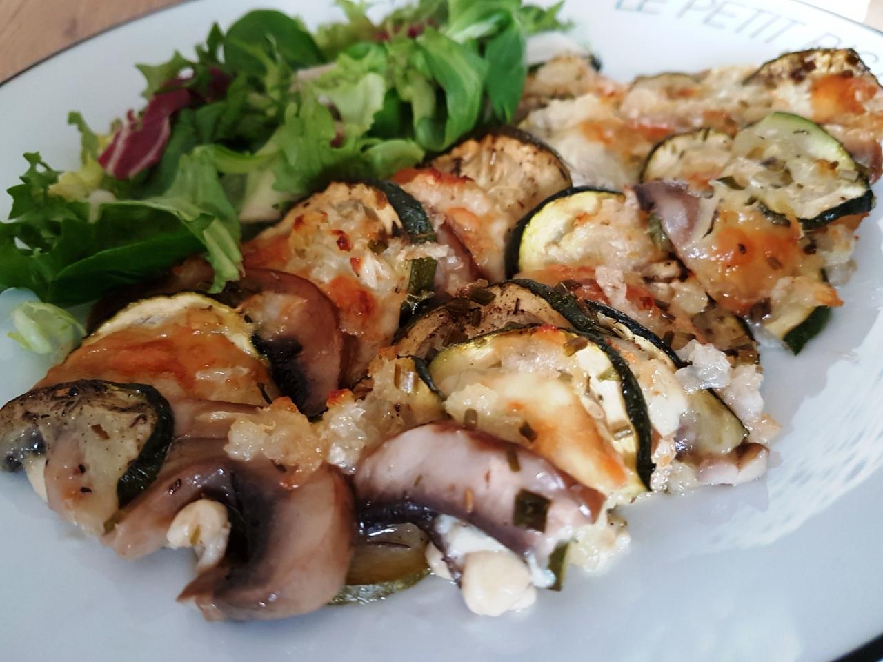Courgette champignon mozzarella au four le plaisir de cuisiner healthy - Cuisiner des aubergines au four ...