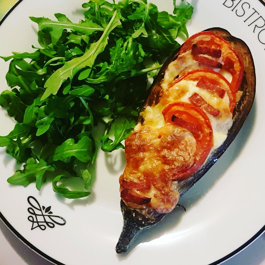 aubergine farcie tomate mozzarella jambon le plaisir de cuisiner healthy. Black Bedroom Furniture Sets. Home Design Ideas