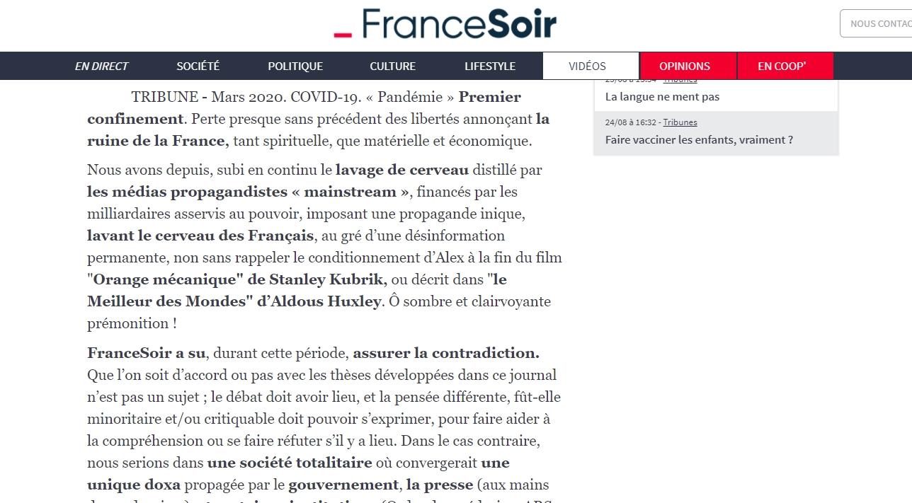 CoVHIdacture, panorama d\\\'une escroquerie, francesoir fr aout2021