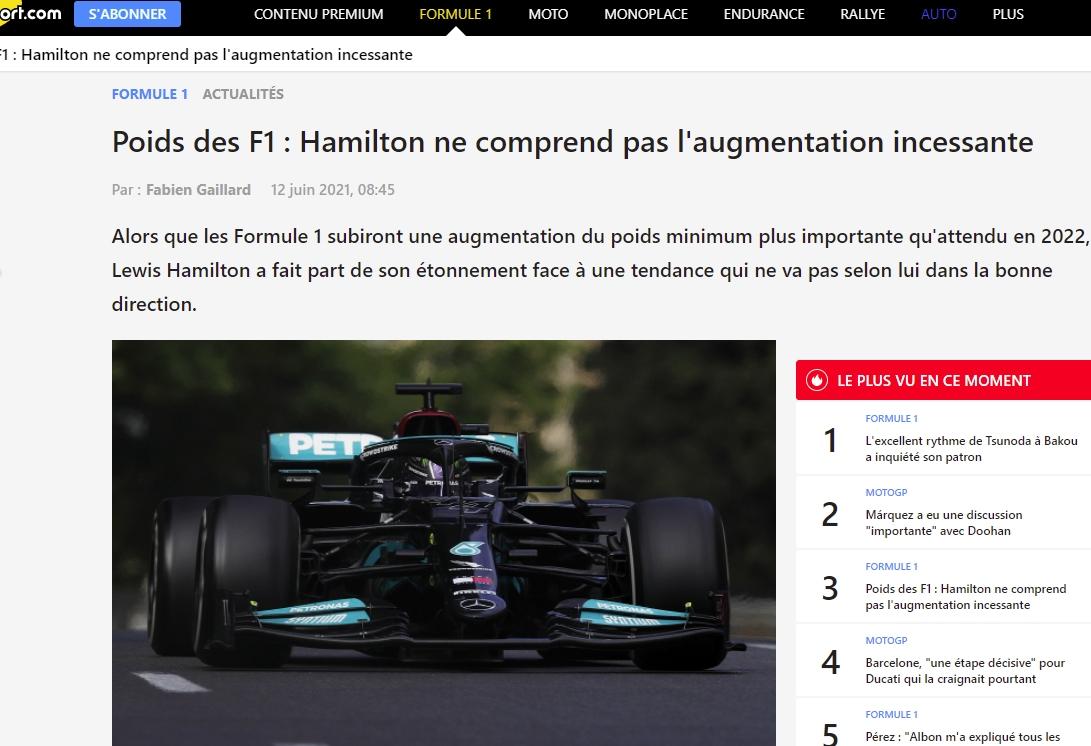 Hamilton le poids des F1 augmente sans arrêt fr