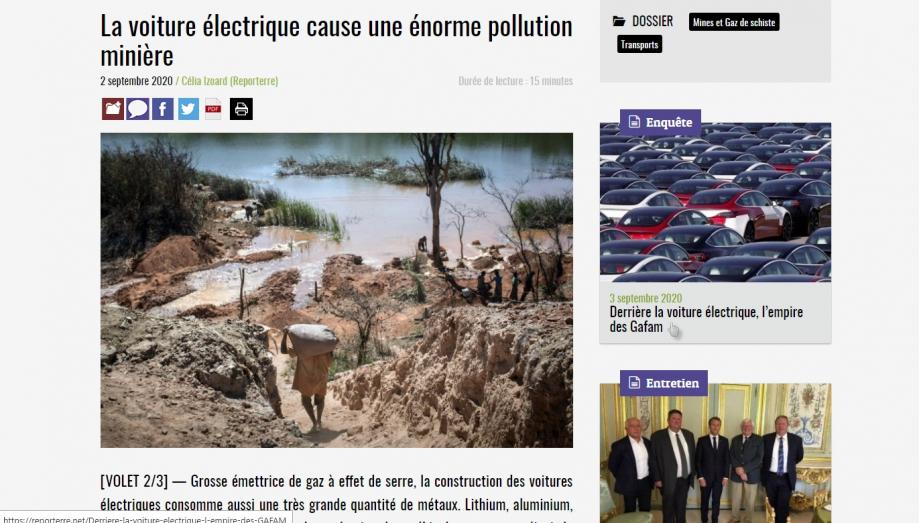 la voiture électrique pollue et esclavagise