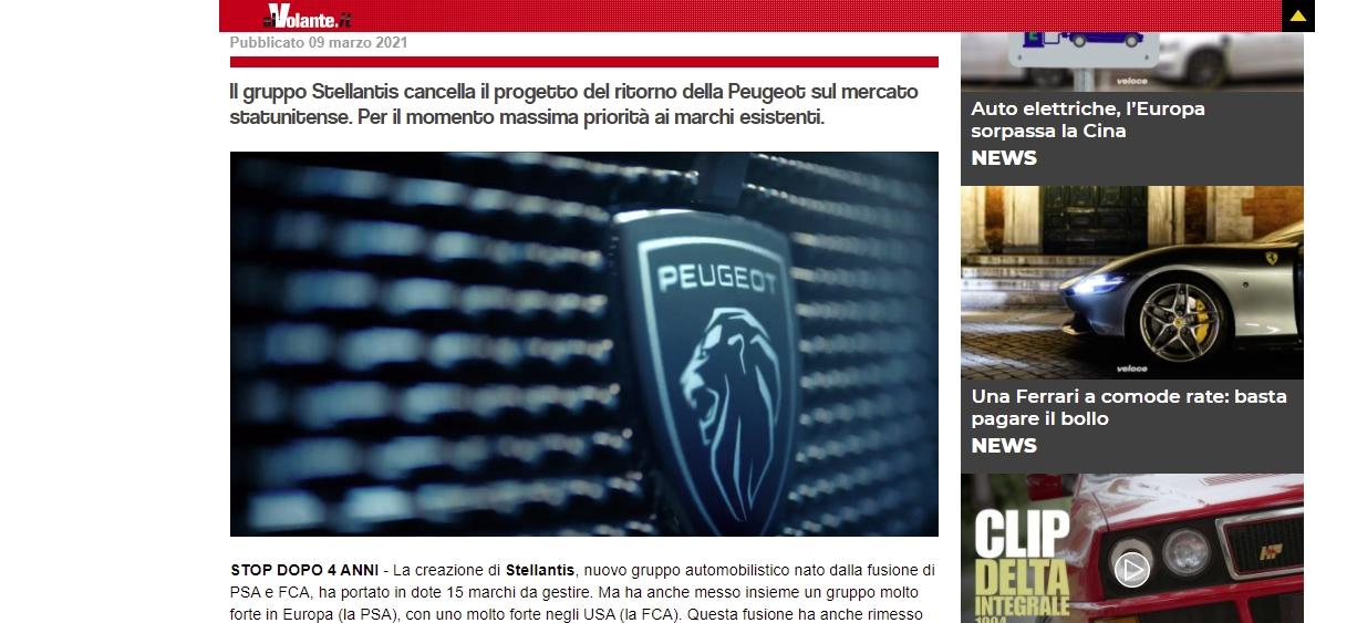 Peugeot toujours privé de desser américain AlVolante it