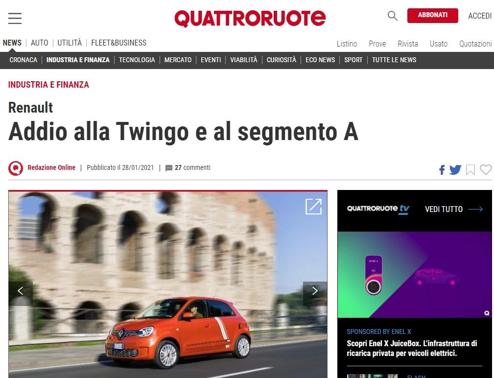RENAULT addio alla Twingo, quattroruote it