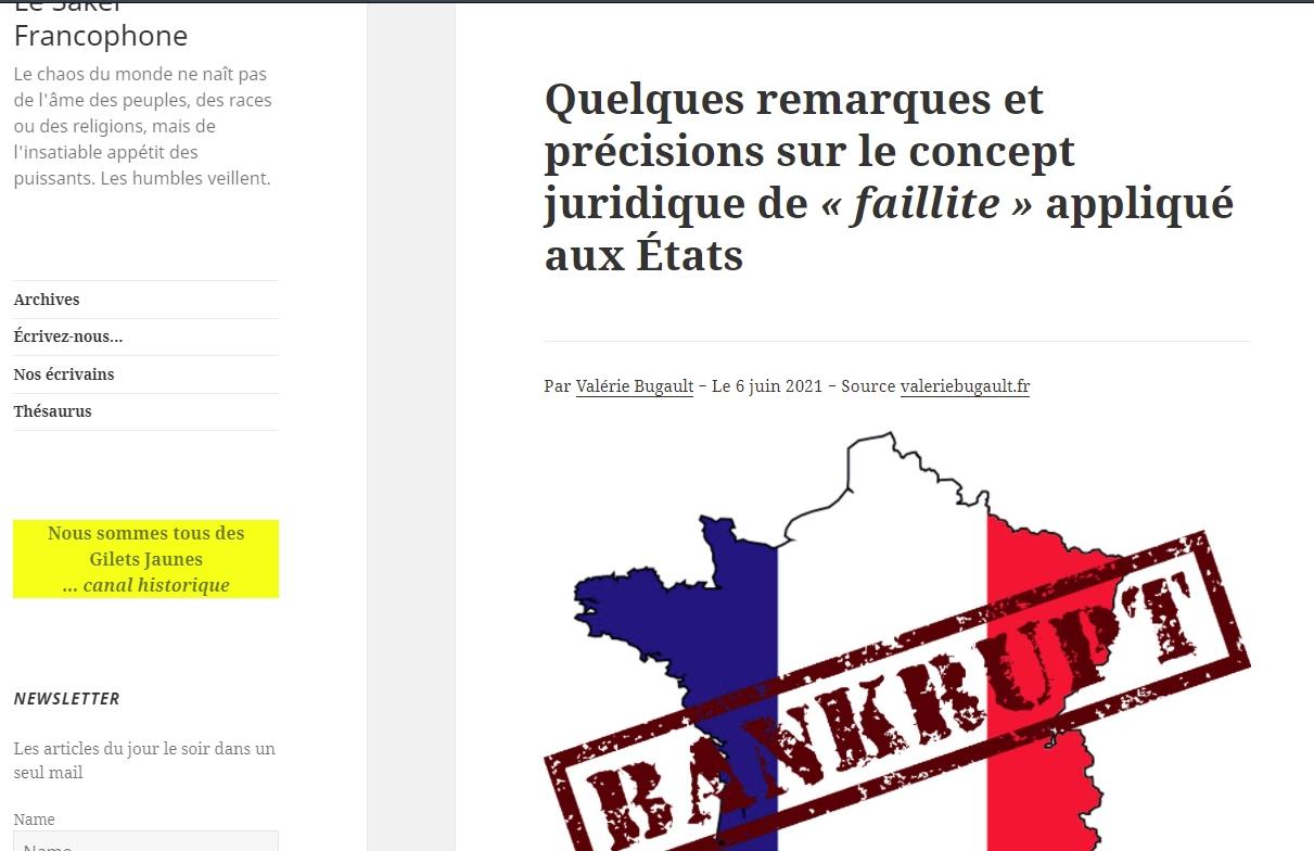 Valérie Bugault, notion de faillite d\\\'Etat