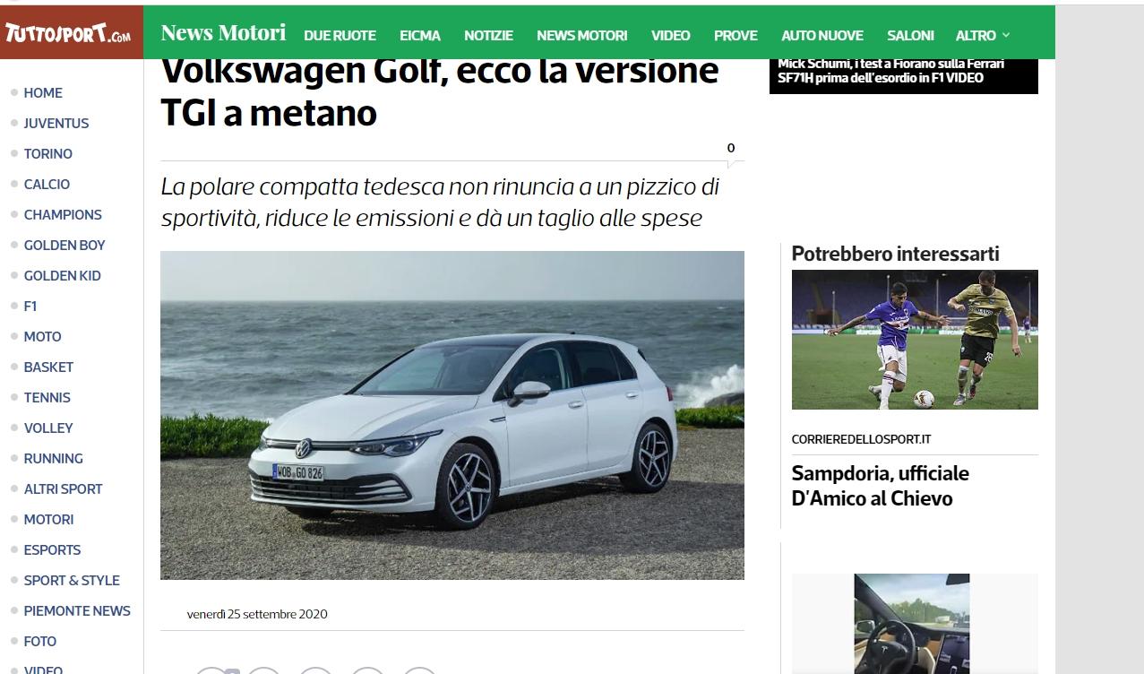 Volkswagen Gollf TGI 2020 & Métane