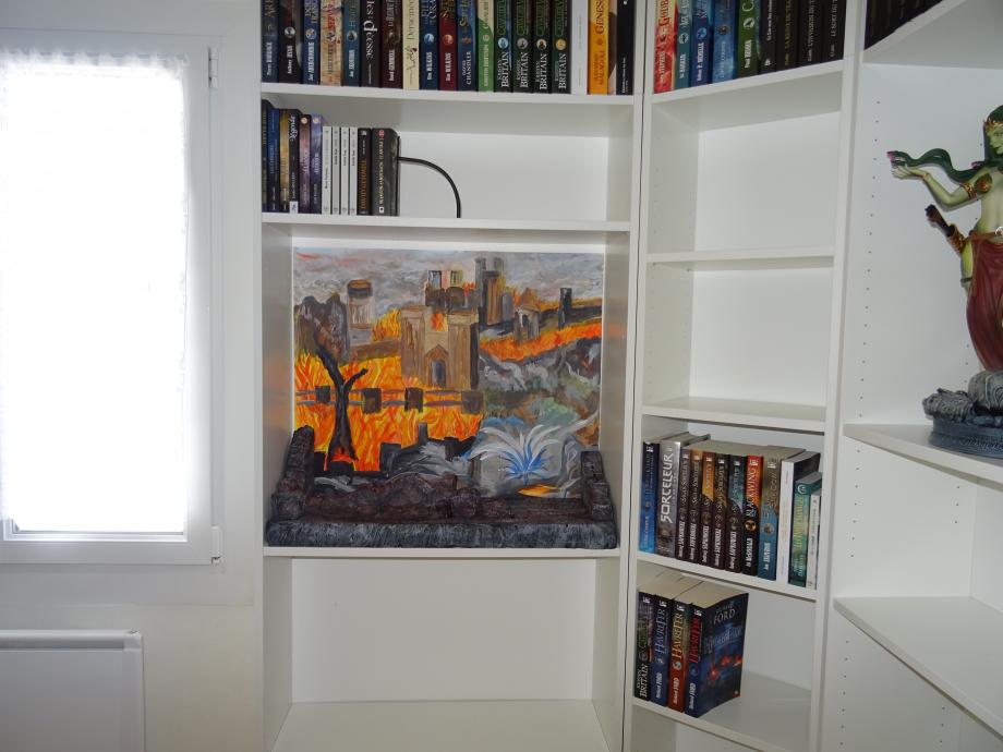 Le premier diorama est terminé. le fond a été peint par mon voisin, je trouve ce décor hyper beau !!
